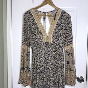 Free People Bell Sleeved Floral Romper